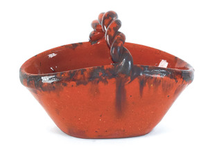 Pennsylvania redware basket, 19th c., with rope tw