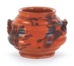 Pennsylvania redware jar, 19th c., with lobed body