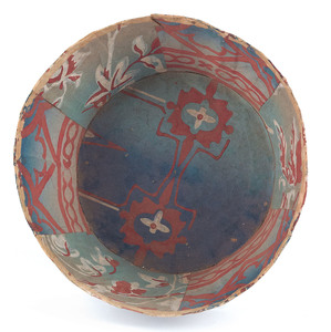 Pennsylvania wallpaper bowl, ca. 1840, with red, w