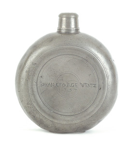 Rare Lancaster, Pennsylvania pewter flask, dated 1
