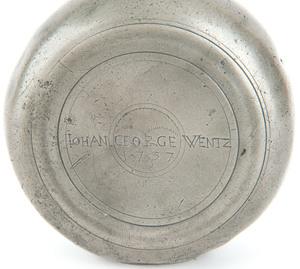 Rare Lancaster, Pennsylvania pewter flask, dated 1