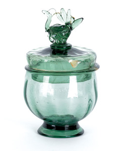 American blown light emerald glass covered bowl, 1