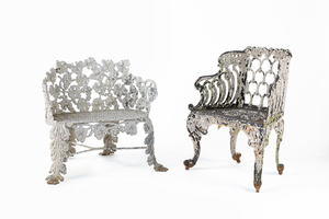 Two lead garden seats, late 19th c.