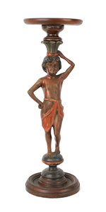 Carved mahogany figural stand, 28 3/4