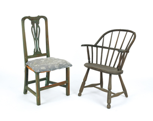 New England Queen Anne dining chair, together with