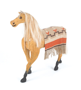 Carved and painted hobby horse, ca. 1900, 32