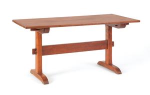Cherry trestle table, 28 1/2