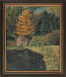 Oil on canvas landscape, signed John Andrew Parke,