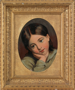 Oil on panel portrait of a girl, signed verso L.S.
