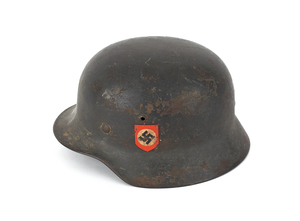 German WWII M35 SS helmet, liner and chinstrap, wi