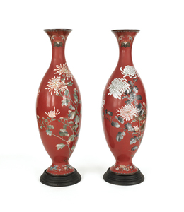 Japanese Meiji period cloisonné palace urns