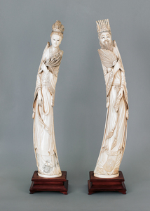 Pair of Chinese carved elephant ivory tusk figures
