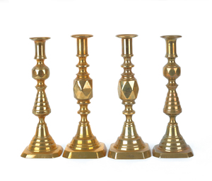 Two pair of English brass candlesticks, late 19th.