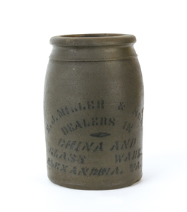 Virginia stoneware crock, 19th c., stamped E.J. Mi