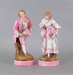 Pair of German porcelain figures of a man and woma