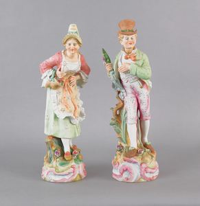Pair or Camille Naudot & Co. bisque figures of a m