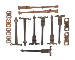 Group of wrought iron hinges.
