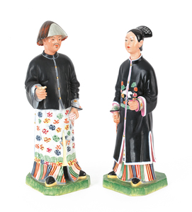 Pair of Italian porcelain Chinese nodders, 14 1/2