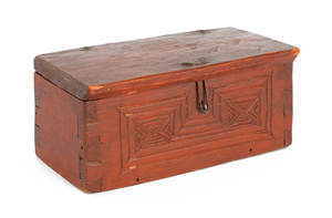 Carved and painted pine dresser box, inscribed SM8