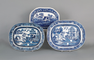 Two blue willow platters, 19th c., 16 1/2