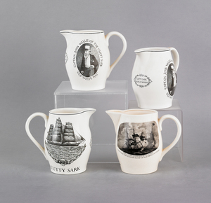 Four reproduction Cutty Sark Liverpool pitchers, 6