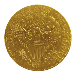 1806 U.S. $10 dollar eagle gold draped bust coin.
