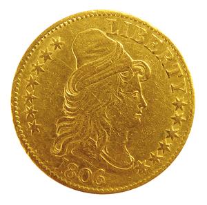 1806 U.S. $10 dollar eagle gold draped bust coin.