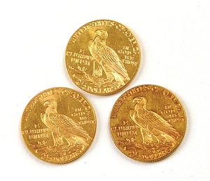U.S. $2.5 gold coins including a 1912, 1914, and 1