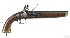 Belgian flintlock military pistol