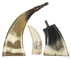 Two flat powder horns