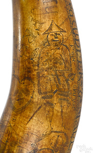 American scrimshaw powder horn