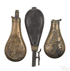 Three powder flasks
