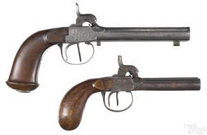 Two Belgian double barrel percussion pistols
