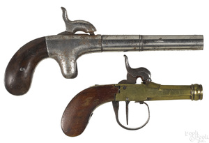 Two single shot percussion pistols