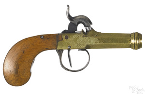 Belgian brass barrel percussion pistol