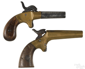 Two brass frame single shot percussion boot pistol