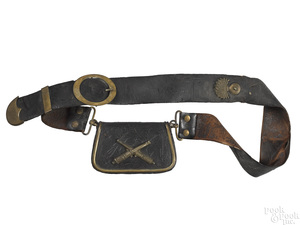 French leather baldric and cartridge box