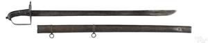 British disk hilt heavy cavalry sword and scabbard