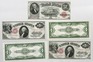 Five large size US notes