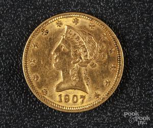 US 1907 Liberty Eagle ten dollar gold coin.