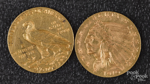 Two US Indian head two and a half dollar gold coin