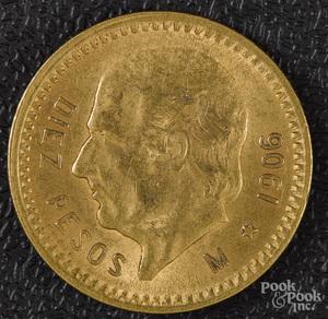 1906 ten pesos gold coin.