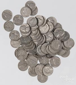 US pre-1964 Roosevelt dimes, 8 ozt., together wit