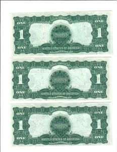 9 series 1899 one dollar silver certificates.