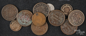 Seven Liberty Head pennies