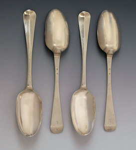 Set of four New York silver tablespoons, ca. 1750,
