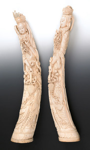 Massive Chinese carved ivory figures of Quanyin