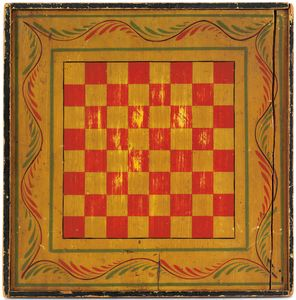 Painted pine double-sided game board, 19th c., ret