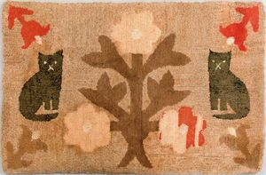 American hooked rug, 19th c., depicting two cats f