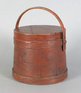 Painted pine firkin, 19th c., retaining an old red